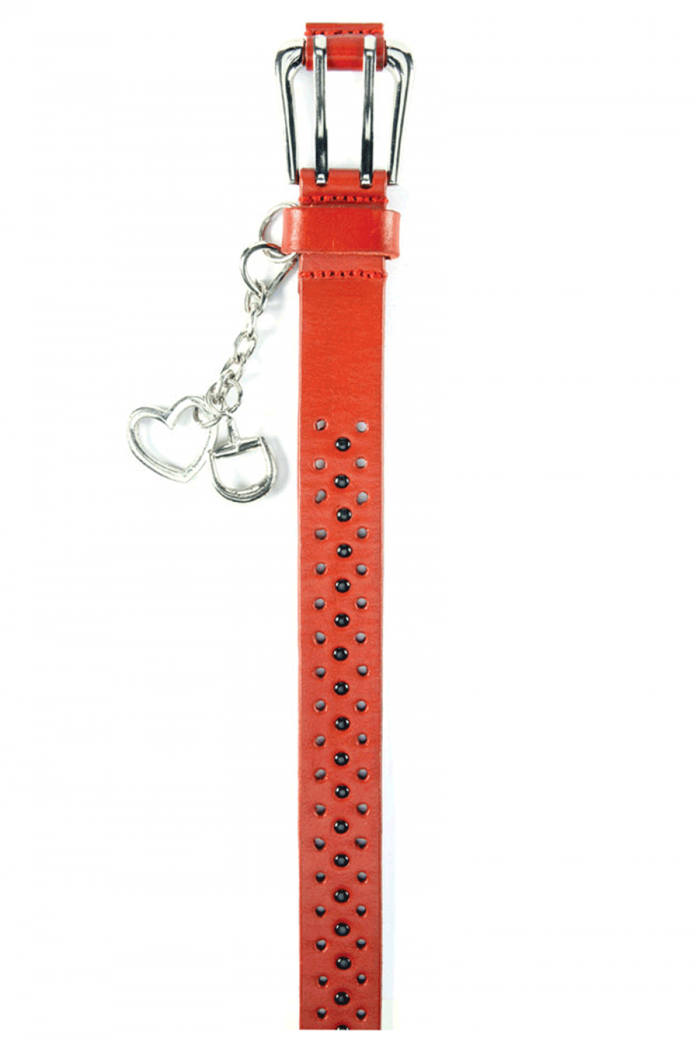 Women Red leather belt with caps and double closure - 611122